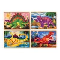 Melissa & Doug Wooden Dinosaurs Puzzles in a Box 4 x 12pcs 3791