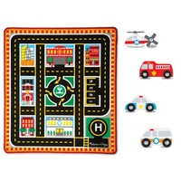 Melissa & Doug Round the City Rescue Play Rug & Vehicles