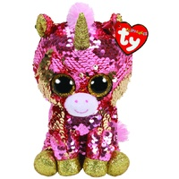 TY Beanie Boos Flippables Sequins Medium Sunset Coral Unicorn