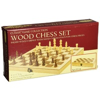 Classic Game Collection Wood Chess Set with Folding Inlaid Board