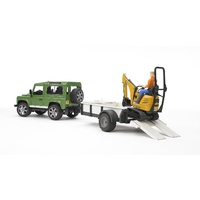 Bruder Land Rover Defender with 1 Axle Trailer, JCB Micro Excavator 02593