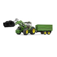 Bruder John Deere 7930 with Frontloader & Tandem Axle Tipping Trailer 1:16 Scale 03055