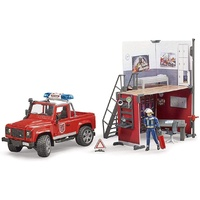 Bruder BWorld Fire Station with Land Rover Defender & Fireman 62701