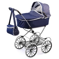 Bayer Classic Deluxe Pram Dark Blue with White Hearts