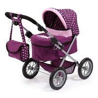 Bayer Trendy Doll Pram Purple with Pink Hearts & Unicorn