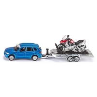 Siku Car with Trailer and Motorbike 1:55 Scale Diecast Vehicle 2547
