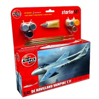 Airfix Starter Set Model Kit De Havilland Vampire T.11 1:72 scale inc glue paint