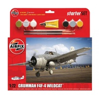 Airfix Starter Set Model Kit Grumman F4F-4 Wildcat 1:72 scale inc paint glue