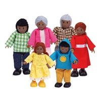 Hape Happy Family Dark Skin Wooden Doll Set of 6