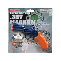 Super Cap Gun 8 Shot with Sheriff Badge .357 Magnum diecast metal toy