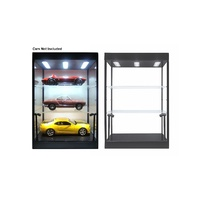 Display Case Black Large LED with 2 shelves suit 3 x 1:18 or 1:24 diecast cars