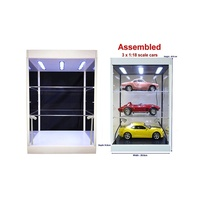 Display Case White large LED with 2 shelves suit 3 x 1:18 or 1:24 diecast cars