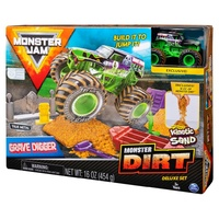 Monster Jam Monster Dirt Deluxe Set with Kinetic Sand - Grave Digger