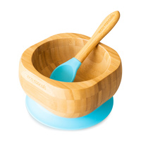 Eco Rascals Bamboo Suction Bowl and Spoon Set - Blue