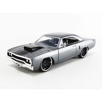 Jada Fast & Furious Dom's Plymouth Road Runner Grey 1:24 Scale Diecast Metal 30745