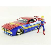 Jada Marvel Avengers Captain Marvel 1973 Ford Mustang Mach 1 1:24 scale diecast car & figure