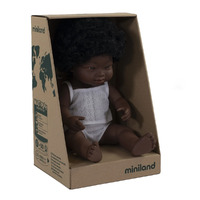 Miniland Baby Doll African Down Syndrome Girl 38cm Anatomically Correct
