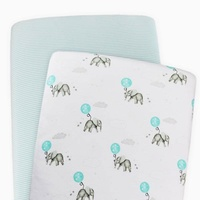 Living Textiles Cotton Jersey Bassinet Fitted Sheet 2 Pack Aqua Stripe/Elephant