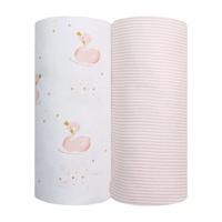 Living Textiles Cotton Jersey Wraps 2 Pack Pink Stripe/Swan