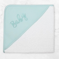 Living Textiles Baby Hooded Towel Aqua Stripe