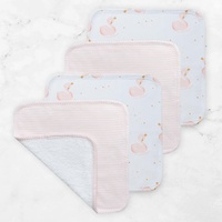 Living Textiles Face Washers 4 Pack Pink Stripe/Swan Princess
