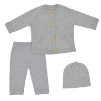 Living Textiles 3pc Cotton Knit Cardigan, Pant & Beanie Set 6-9 Months - Grey Marle
