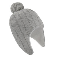Living Textiles Cable Knit Sherpa Beanie - Grey Marle