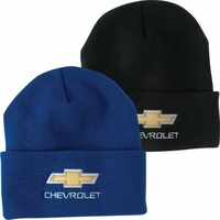 Chevrolet Chev bowtie knitted beanie black or blue embroidered logo RB148