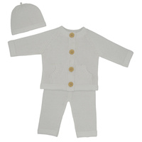 Living Textiles 3pc Cotton Knit Cardigan, Pant & Beanie Set - Ivory